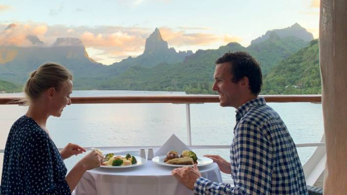 Each room on our cruise had a balcony, large enough to enjoy dinner on.