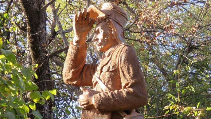 A statue of African explorer, David Livingstone, greets visitors to Victoria Falls in Mosi-Oa-Tunya National Park.