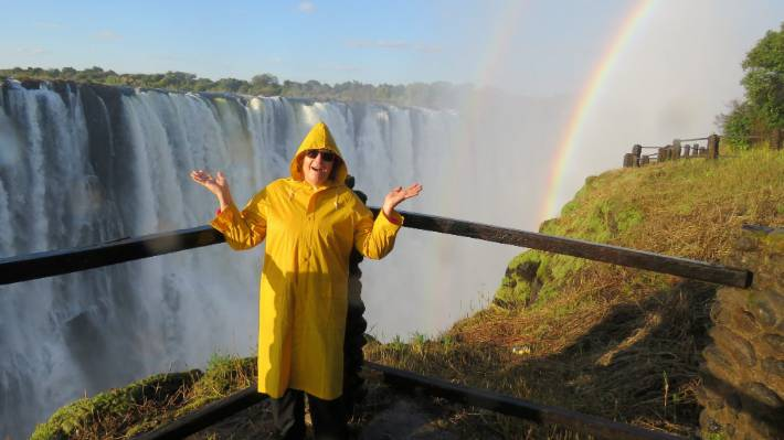 Elegantly attired in a hired yellow raincoat, I viewed Victoria Falls and its legendary rainbow for the first time from the rainforest section of Mosi-Oa-Tunya National Park.