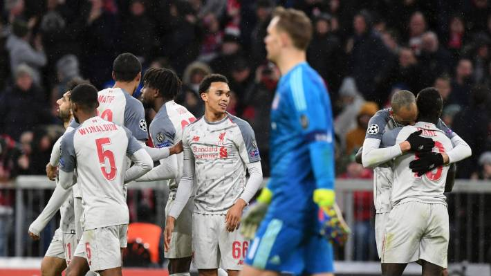 Liverpool players celebrate following Sadio Mane's third goal against Bayern Munich at the Allianz Arena