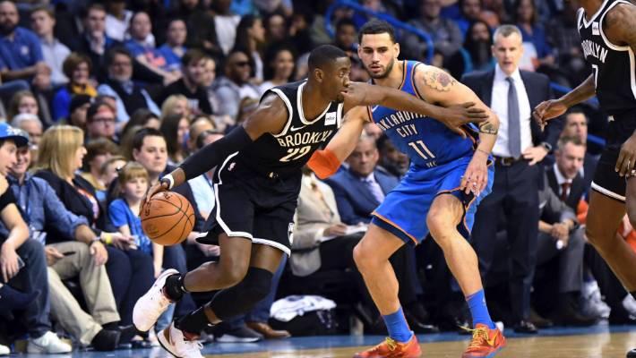 Brooklyn Nets guard Caris Le Vert drives past Oklahoma City Thunder forward Abdel Nader