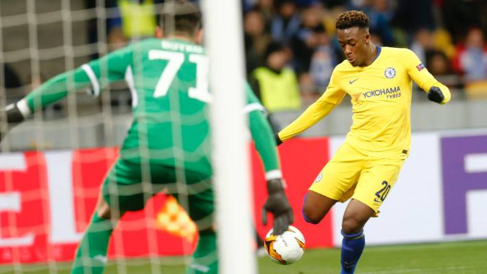 Chelsea's Callum Hudson Odoi scores his side's fifth goal as they swept aside woeful Dynamo Kiev