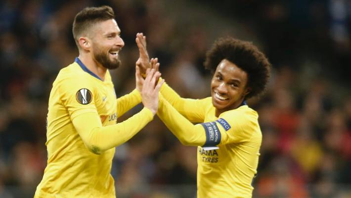 Chelsea striker Olivier Giroud celebrates his second goal against Dyanmo Kiev with team-mate Willian