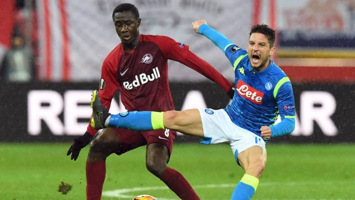 Salzburg's Diadie Samassekou left challenges Napoli's Dries Mertens during his side's 3-1 home win