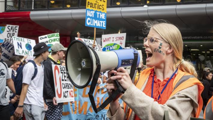 Former Kāpiti College student Sophie Handford, the School Strike 4 Climate NZ's coordinator, calls the march to action.