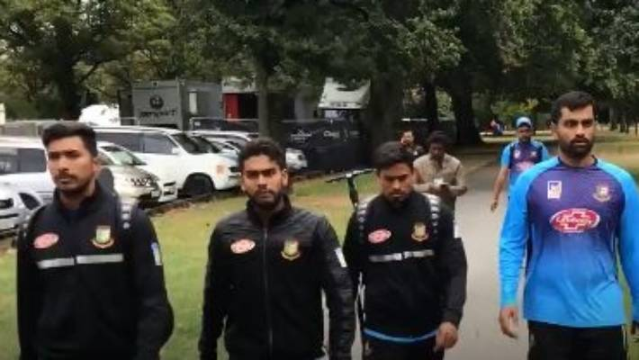 The Bangladesh cricket team were in the mosque where shots were fired on Friday.