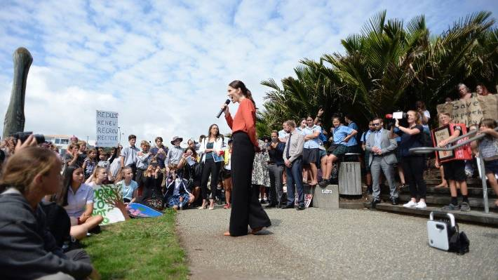 Prime Minister Jacinda Ardern was a surprise visitor at  the Student Strike 4 Climate Change in New Plymouth.