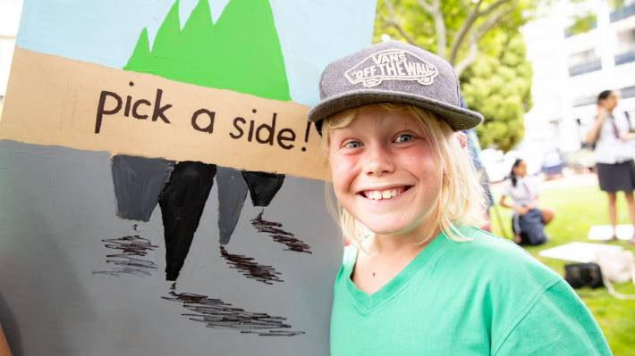 Isaac Rayner, 10, joined Friday's strike and hopes adults will take more action to stop climate change.