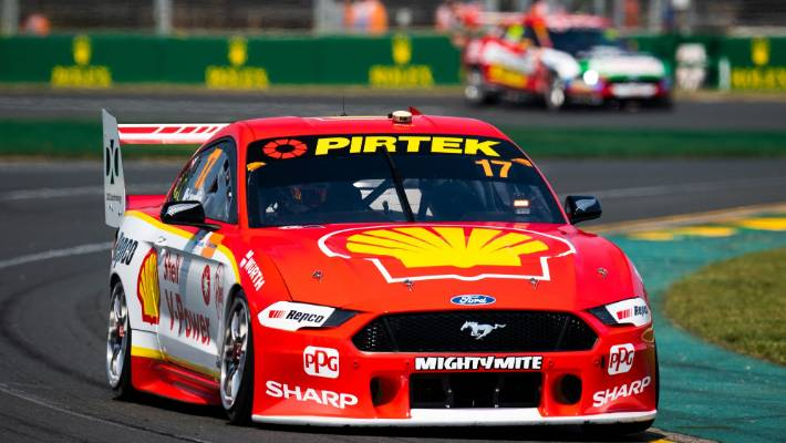 Scott McLaughlin drives the #17 Shell V-Power Racing Team Ford Mustang during the Melbourne 400 Supercars Championship Round at the Albert Park Circuit.