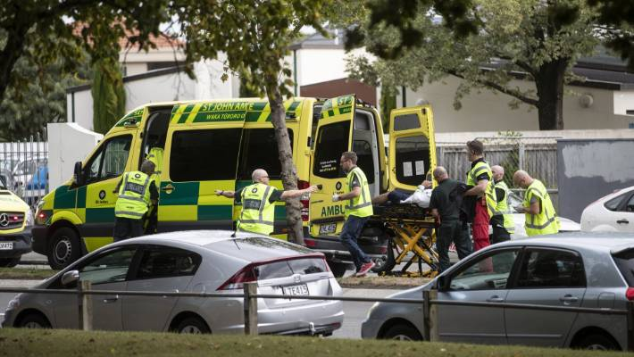 20 ambulances took people from the scenes of two mass shootings in Christchurch on Friday.