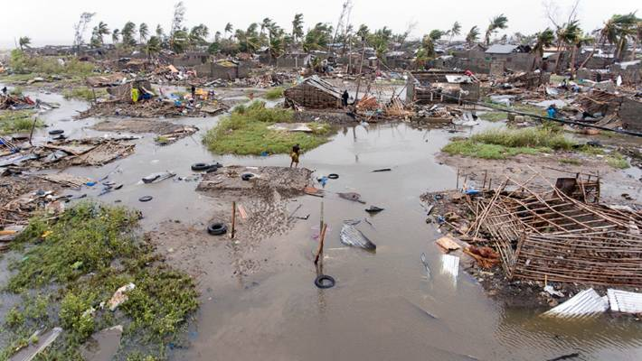 An aerial view of the destruction of homes after Tropical Cyclone Idai in Beira Mozambique