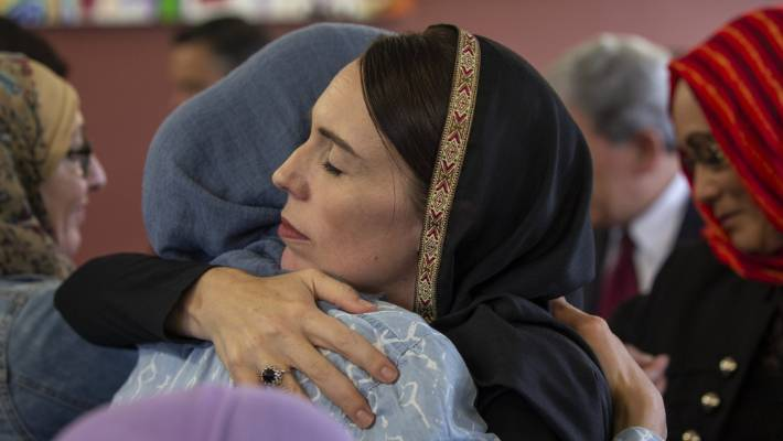 Prime Minister Jacinda Ardern wears a headscarf during her visit to Christchurch.