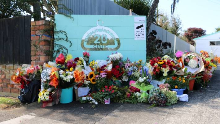 Buckets of flowers festooned the gateway of the Hawera Islamic Centre, in the wake of the Christchurch mosque shootings.