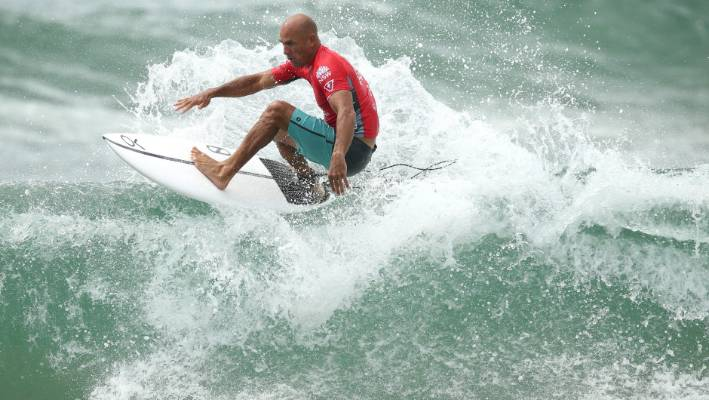 Surfing legend Kelly Slater makes a splash in Sydney as Olympic bid gathers pace