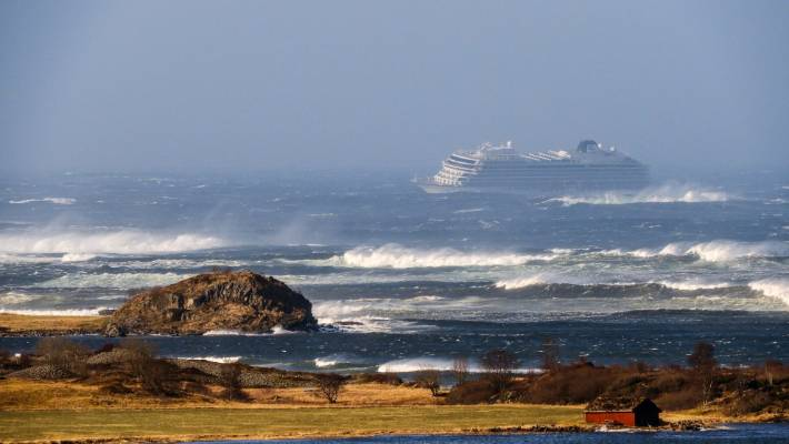 The cruise ship Viking Sky as it drifts after sending a Mayday signal because of engine failure in windy conditions near Hustadvika