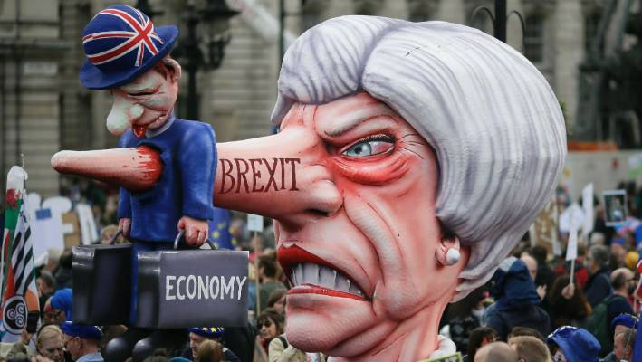 Anti-Brexit marchers flood London demanding a second referendum