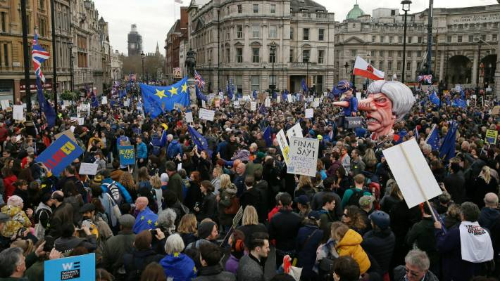 Hundreds of thousands of people gathered in central London for the anti Brexit march