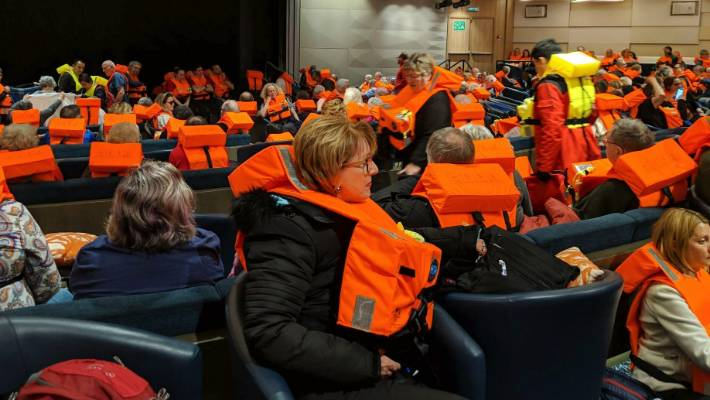 Passengers on board the Viking Sky waiting to be evacuated