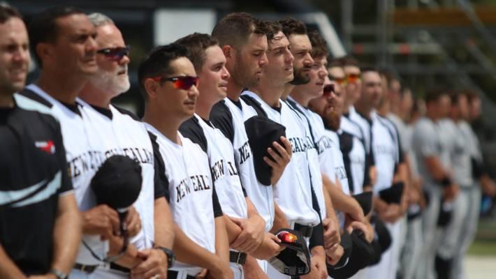 The New Zealand Black Sox softball team with coach Mark Sorenson (third from left).