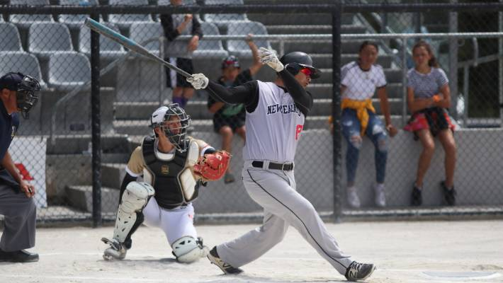 Black Sox captain Nathan Nukunuku at bat.