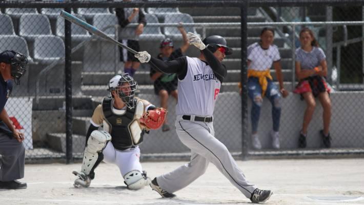 Black Sox captain Nathan Nukunuku at bat.