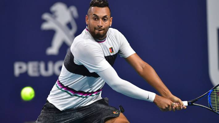 Kyrgios produces two underarm serves in Lajovic thrashing