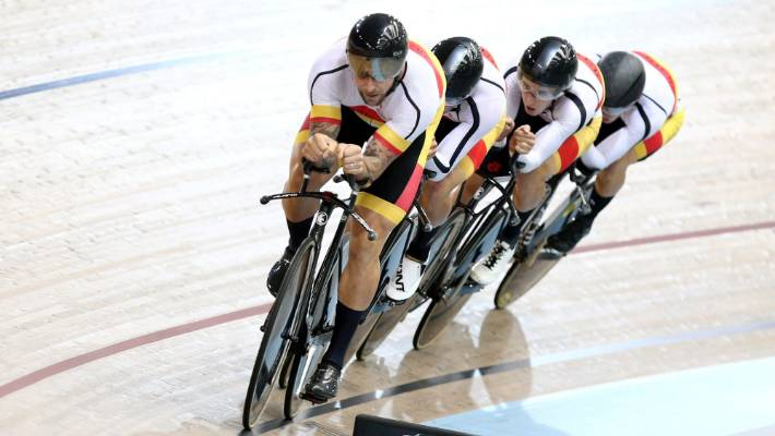 New Zealand sprinter Eddie Dawkins makes a rare appearance in an endurance event, leading out the Southland team in the men???s team pursuit at the elite track nationals in February.