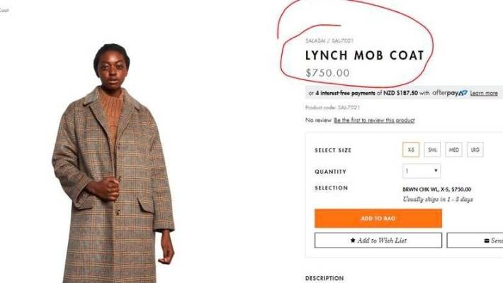 'What were you thinking?': Smith & Caughey's selling 'lynch mob' coat