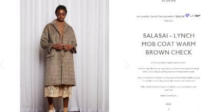 Salasai designed the coat, describing it as a classic grandpa shaped coat for women, reminiscent of a bag lady whose ...