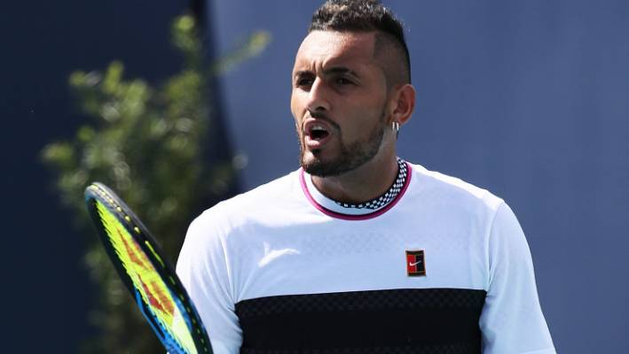 Nick Kyrgios vents his frustrations during his loss to Borna Coric in Miami.