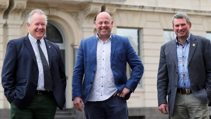 Falling into line?: Timaru mayor Damon Odey, flanked by Waimate mayor Craig Rowley and Mackenzie mayor Graham Smith, is pushing for his council to sign the Local Government New Zealand Leaders' Declaration on Climate Change which is yet to be signed by Waimate and Mackenzie.