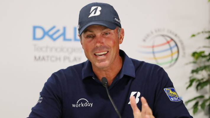 US golfer Matt Kuchar fronts the media after defeating Sergio Garcia in controversial circumstances