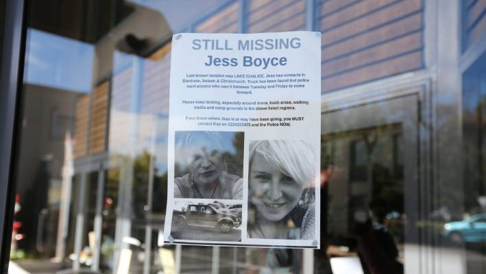 A missing person's poster of Boyce at Watery Mouth Cafe, in Blenheim.