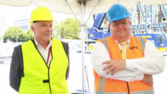 How it was: Mayor Bob Parker (l) and Minister Gerry Brownlee putting brave faces on a strained relationship.