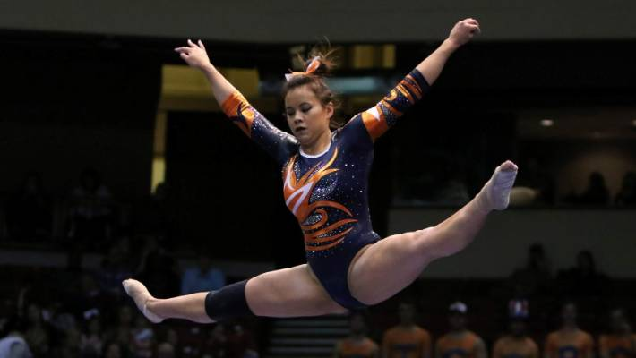 Graphic video shows gymnast breaking BOTH legs in shock accident