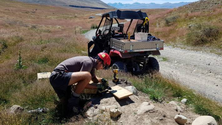 DOC biodiversity ranger Tom Smits deploying one of the new traps in the Cass River Valley as part of the Te Manahuna Aoraki predator control project. It is expected that the project will eventually cover 60,000 hectares of black stilt/kaki breeding area.
