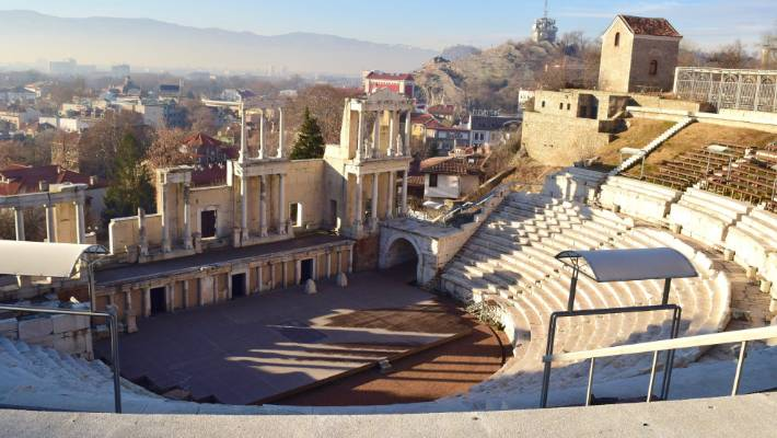 Plovdiv's massive Roman amphitheatre was built nearly 2000 years ago and still operates as a concert venue.