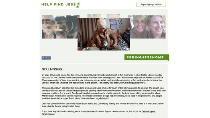 Boyce's family have set up the website 'Help Find Jess' so the public can submit anonymous tips.