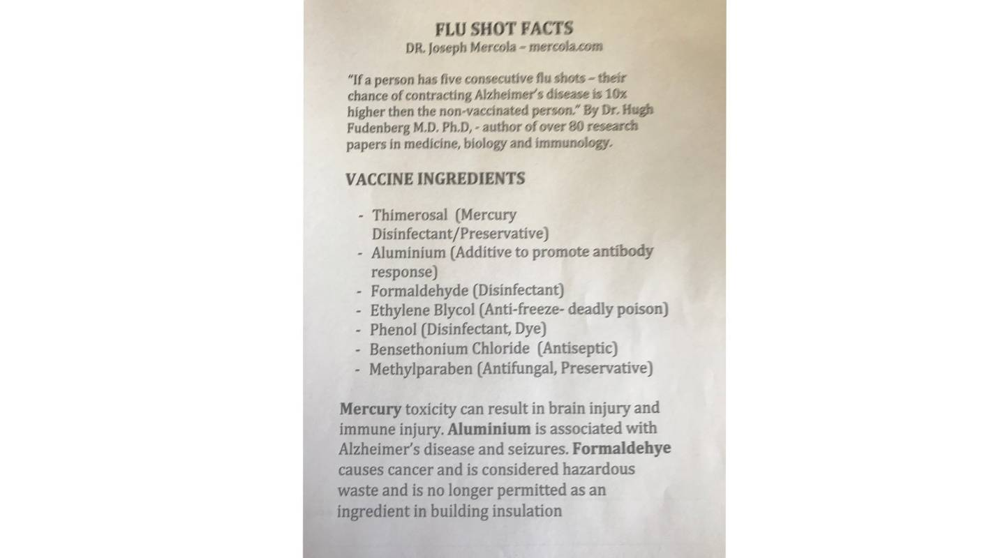Hamilton City Councillor Siggi Henry's anti-flu vaccine flier
