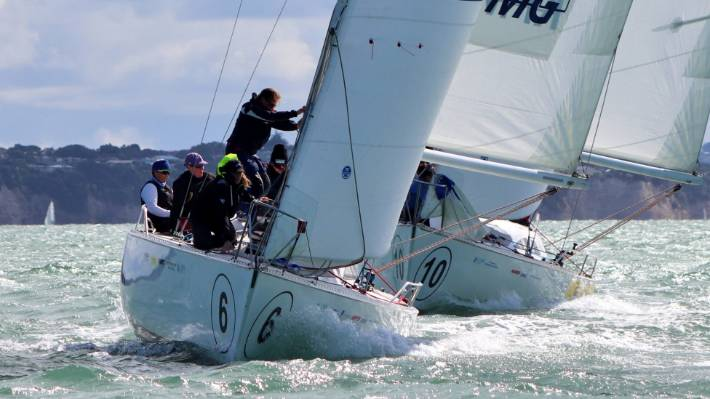 Sally Garrett's crew, who first sailed together 20 years ago, lead the fleet during their maiden victory in the NZ women's keelboat champs on the Waitemata Harbour.