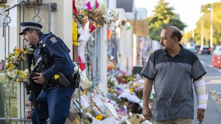 March 15 attack survivor Mohammad Shammin Siddiqui outside the Al-Noor mosque on Deans Ave in April.