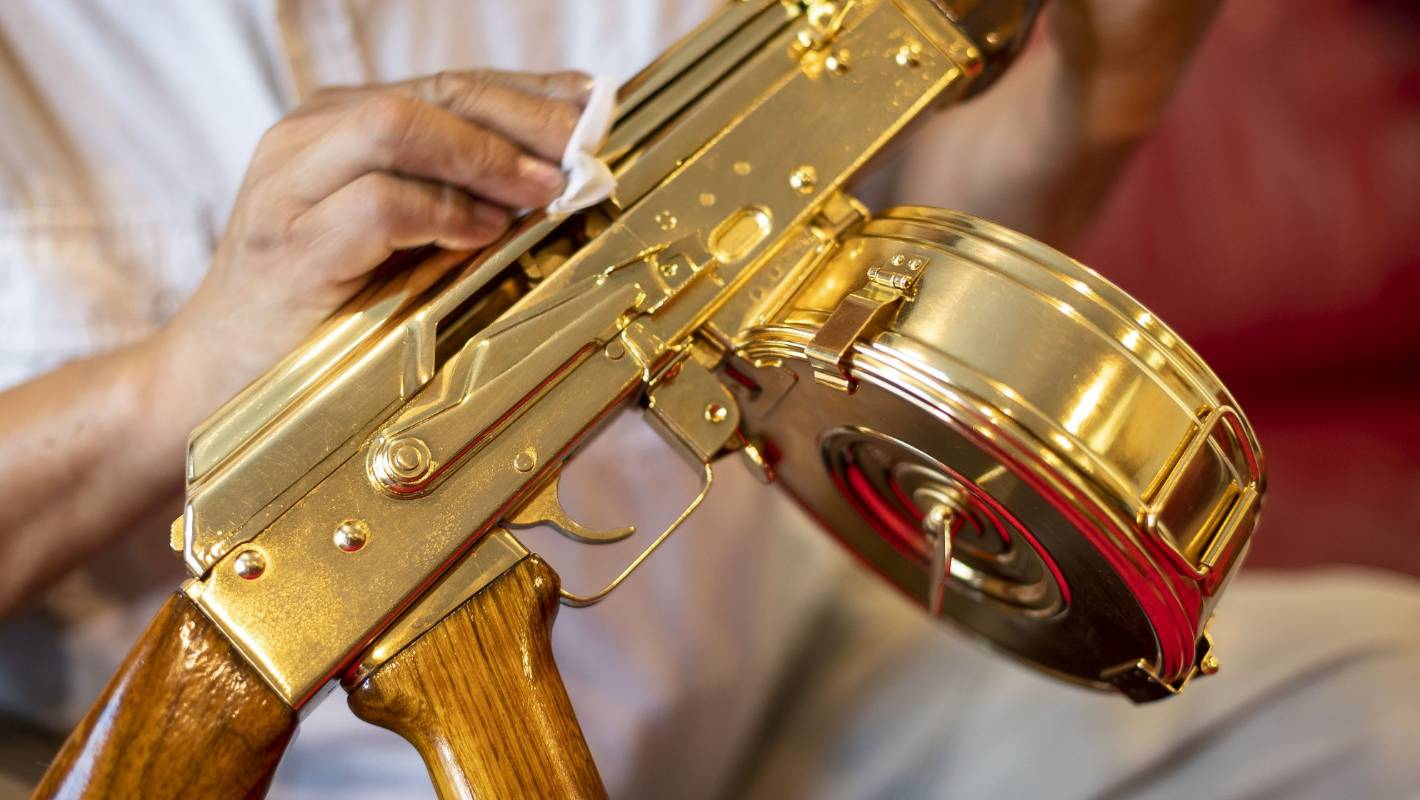 Military enthusiast with 'one-of-a-kind' gold plated AK-47 not ready