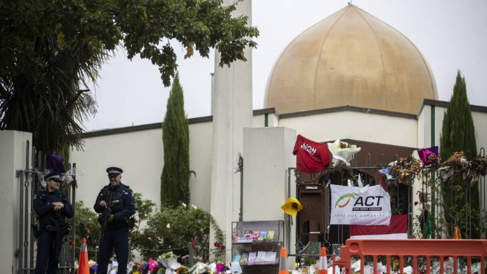 Armed police continue to guard the Al Noor Mosque on Deans Ave weeks after the shootings.