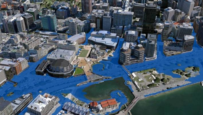 10 per cent of the city's property values could be wiped out by a sea level rise.