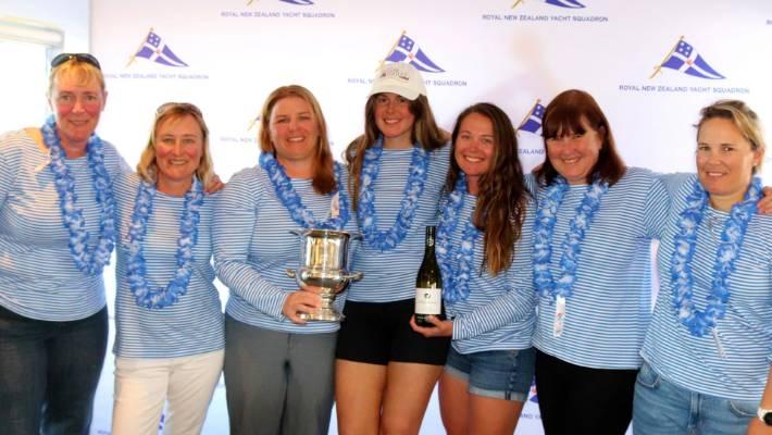 The NZ women's keelboat champions (from left) Jenny Price, Sarah Ell, Sally Garrett, Emma Stenhouse, Alison Kent, Christine Weston and Sara Winther.