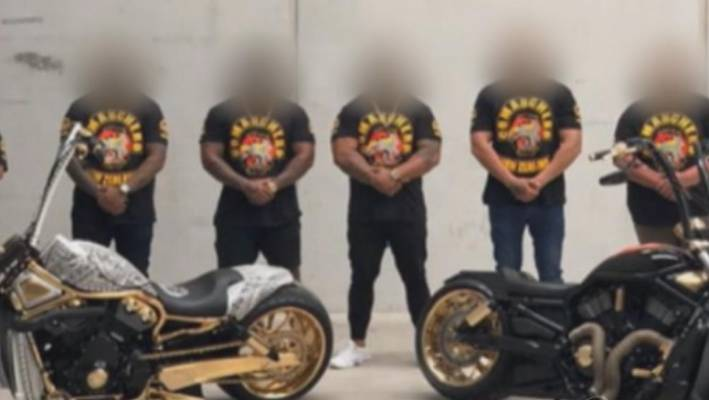 Footage of Comanchero Motorcycle Club ceremony days after