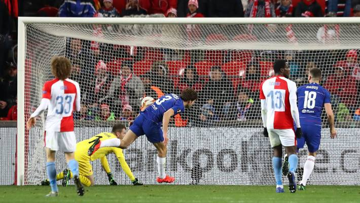 Chelsea's Marcos Alonso centre heads home Willian's cross to secure a late winner against Slavia Prague