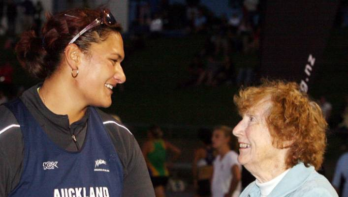 Dame Valerie Adams with Yvette Corlett, who had a great interest in her career.