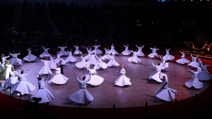 Whirling dervishes perform on the 742nd anniversary of the death of Mowlana Jalaluddin Rumi, in Konya, Turkey.