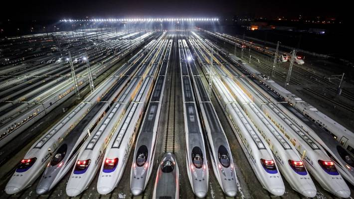 Hundreds of high-speed trains at a maintenance base in Wuhan, China.  (